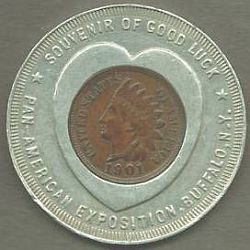 Typical round encased cent from 1901 Pan American Expo